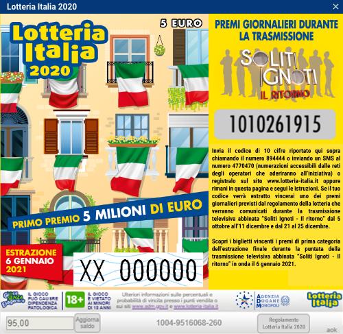 Lotteria Italia numeri vincenti 110957